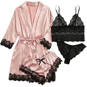 1608223397 womens lingerie robe SOLY HUX Womens Sleepwear 4pcs Floral