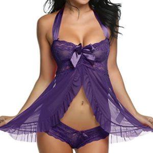 1609087565 lingerie transparente Avidlove Lingerie for Women Lace Babydoll Dress