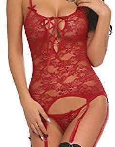1611074657 womens lingerie teddy with straps Avidlove Women Lace Bodysuit
