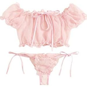 womens lingerie SheIn Womens Self Tie Ruffle Trim Dobby