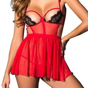 lingerie transparente ALLoveble Womens Sexy Lace Lingerie Dress Cupless